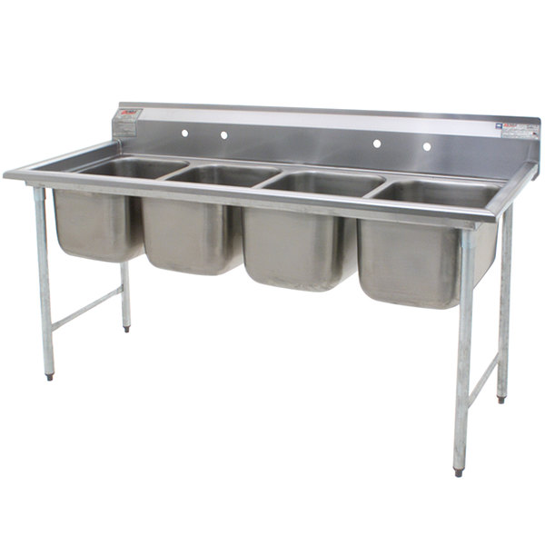 """Eagle Group 414-16-4 Four 16"""" Bowl Stainless Steel Commercial Compartment Sink Main Image 1"""