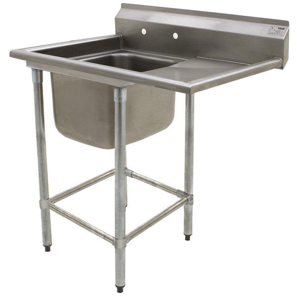 """Right Drainboard Eagle Group FN2016-1-24-14/3 One 20"""" x 16"""" Bowl Stainless Steel Spec-Master Commercial Compartment Sink with 24"""" Drainboard"""