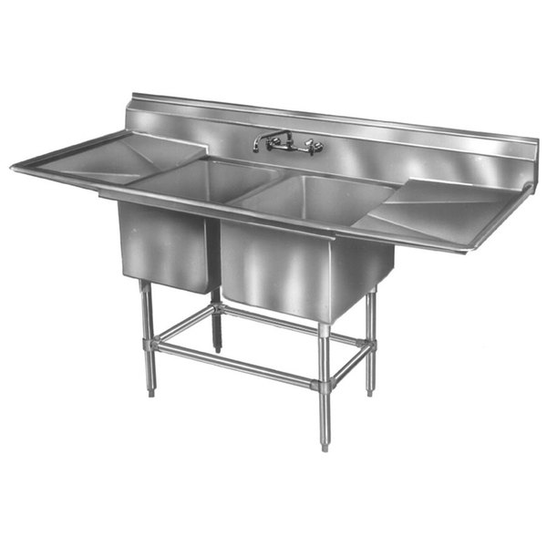 """Right Drainboard Eagle Group FN2036-2-18-14/3 Two 20"""" x 18"""" Bowl Stainless Steel Spec-Master Commercial Compartment Sink with 18"""" Drainboard"""