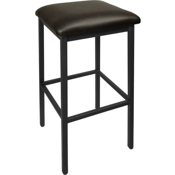 "BFM Seating 2510BBLV-SB Trent Sand Black Steel Barstool with 2"" Black Vinyl Seat"