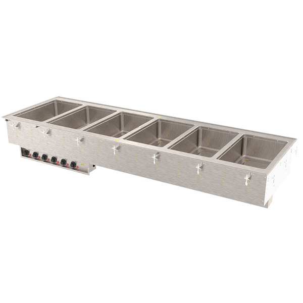 Vollrath 3640951 Modular Drop In Six Compartment Hot Food Well with Infinite Controls and Manifold Drain - 208/240V, 6000W