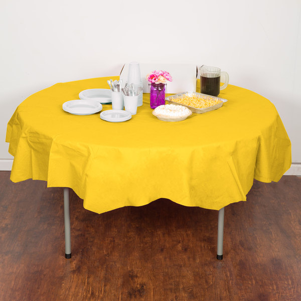 "Creative Converting 923269 82"" School Bus Yellow OctyRound Tissue / Poly Table Cover - 12/Case Main Image 4"