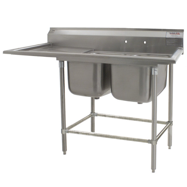"Left Drainboard Eagle Group FN2840-2-24-14/3 Two 28"" x 20"" Bowl Stainless Steel Spec-Master Commercial Compartment Sink with 24"" Drainboard"