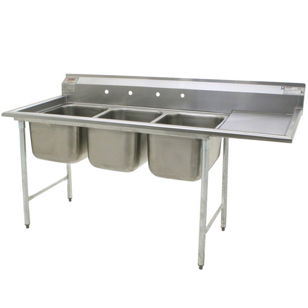 "Right Drainboard Eagle Group 414-22-3-24 Three 22"" Bowl Stainless Steel Commercial Compartment Sink with 24"" Drainboard"