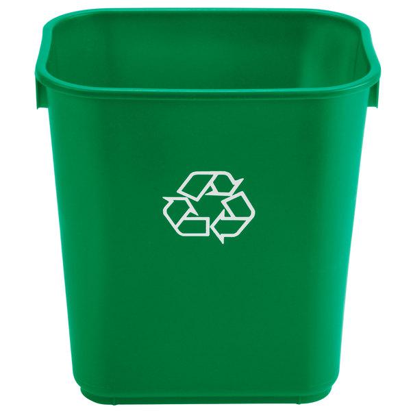 Continental 1358-2 13.6 Qt. / 3 Gallon Green Rectangular Recycling Wastebasket / Trash Can