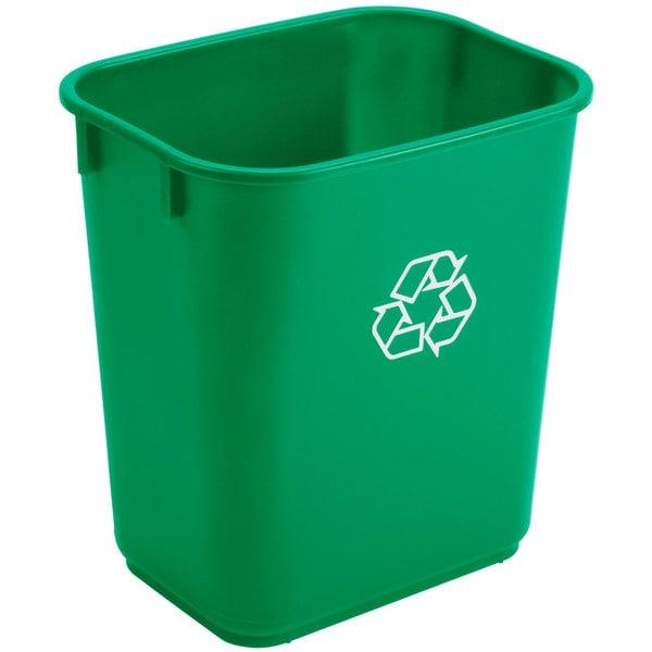 Continental 1358-2 13.6 Qt. / 3 Gallon Green Rectangular Recycling Wastebasket / Trash Can Main Image 1
