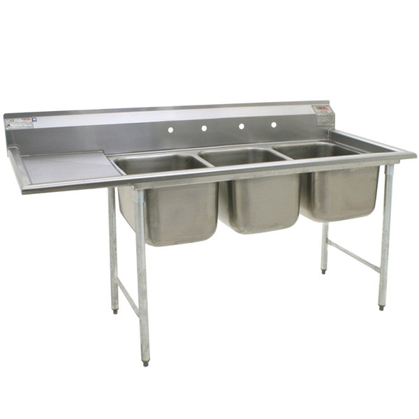 "Left Drainboard Eagle Group 414-22-3-24 Three 22"" Bowl Stainless Steel Commercial Compartment Sink with 24"" Drainboard"