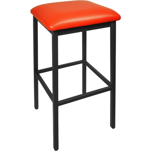"BFM Seating 2510BRDV-SB Trent Sand Black Steel Barstool with 2"" Red Vinyl Seat"
