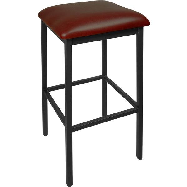 "BFM Seating 2510BBUV-SB Trent Sand Black Steel Barstool with 2"" Burgundy Vinyl Seat"
