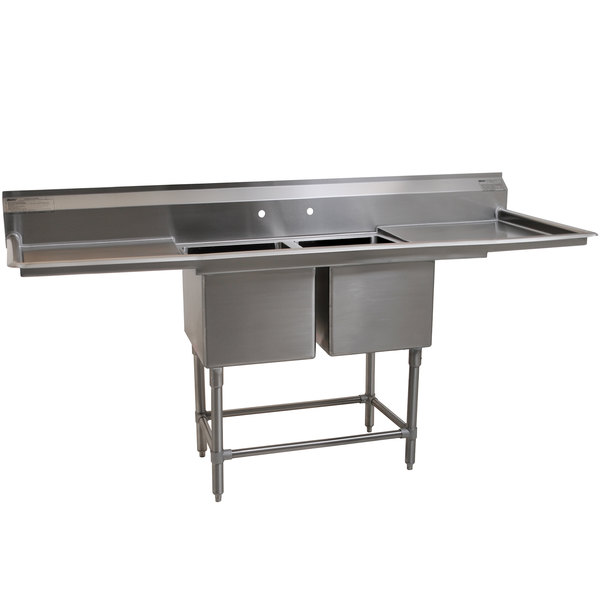 "Eagle Group FN2040-2-24-14/3 Two 20"" x 20"" Bowl Stainless Steel Spec-Master Commercial Compartment Sink with Two 24"" Drainboards"