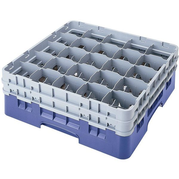 "Cambro 25S958168 Camrack Customizable 10 1/8"" High Customizable Blue 25 Compartment Glass Rack"