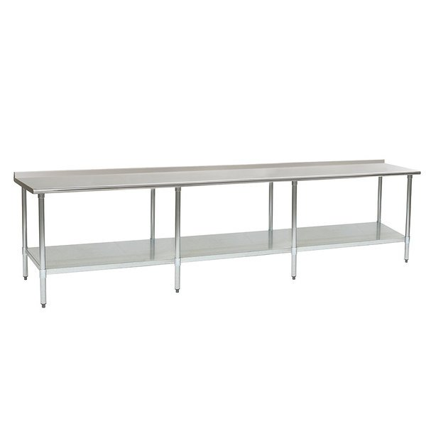 "Eagle Group UT36144B 36"" x 144"" Stainless Steel Work Table with Undershelf and 1 1/2"" Backsplash"
