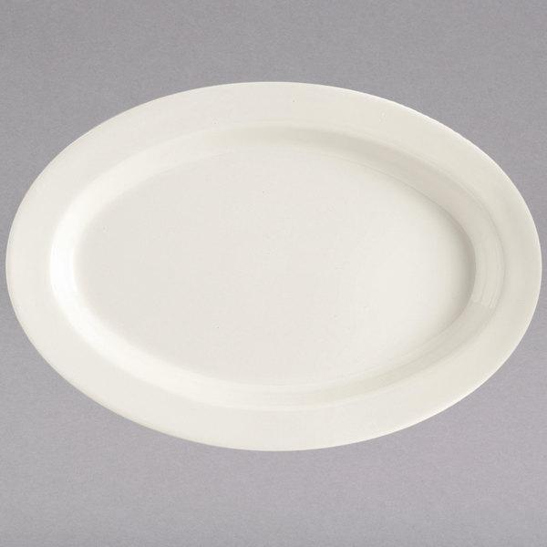 "GET OP-215-IV Diamond Ivory 11 1/2"" Oval Platter - 24/Case"