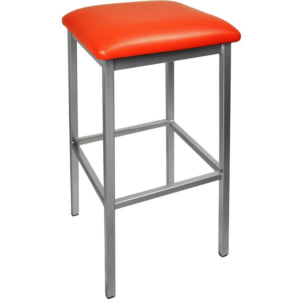 "BFM Seating 2510BRDV-SV Trent Silver Steel Barstool with 2"" Red Vinyl Seat"