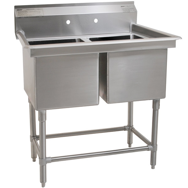 """Eagle Group FN2032-2-14/3 Two 20"""" x 16"""" Bowl Stainless Steel Spec-Master Commercial Compartment Sink Main Image 1"""