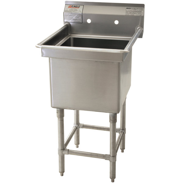 """Eagle Group FN2424-1-14/3 One 24"""" x 24"""" Bowl Stainless Steel Spec-Master Commercial Compartment Sink"""
