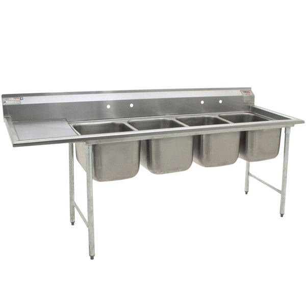 "Left Drainboard Eagle Group 414-16-4-18 Four 16"" Bowl Stainless Steel Commercial Compartment Sink with 18"" Drainboard"