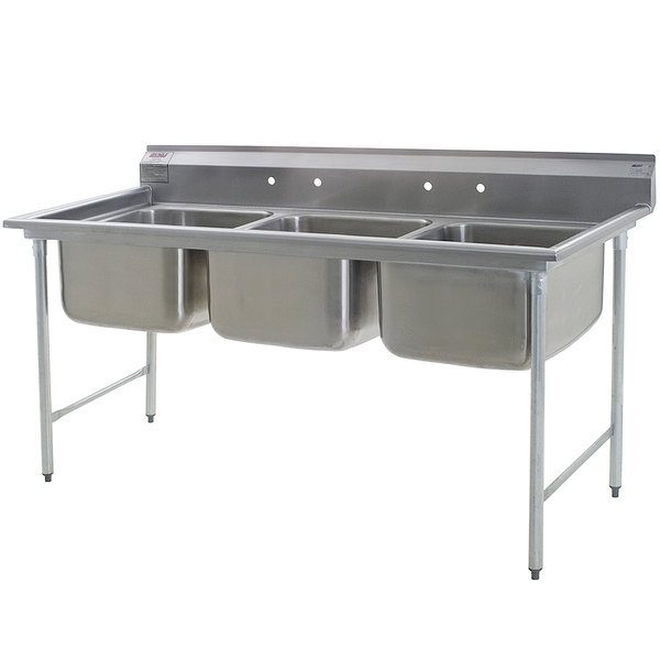"""Eagle Group 314-22-3 Three Compartment Stainless Steel Commercial Sink without Drainboards - 77 1/2"""""""