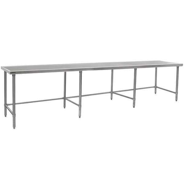 """Eagle Group T36132STEM 36"""" x 132"""" Open Base Stainless Steel Commercial Work Table"""
