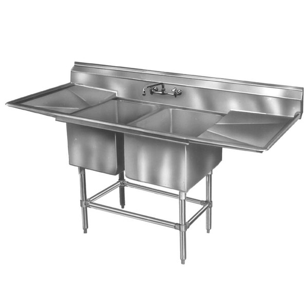 "Right Drainboard Eagle Group FN2448-2-24-14/3 Two 24 x 24"" Bowl Stainless Steel Spec-Master Commercial Compartment Sink with 24"" Drainboard"