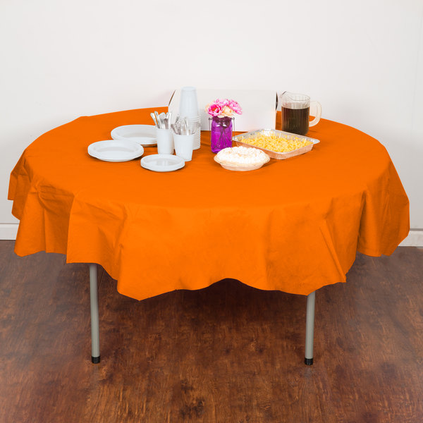 """Creative Converting 923282 82"""" Sunkissed Orange OctyRound Tissue / Poly Table Cover - 12/Case Main Image 4"""