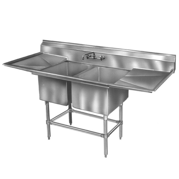 """Eagle Group FN2036-2-24-14/3 Two 20"""" x 18"""" Bowl Stainless Steel Spec-Master Commercial Compartment Sink with 24"""" Drainboard"""