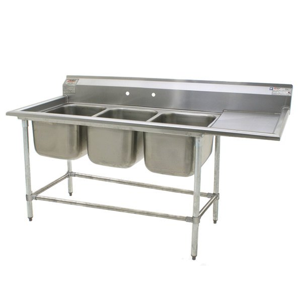 "Right Drainboard Eagle Group FN2060-3-24-14/3 Three 20"" x 20"" Bowl Stainless Steel Spec-Master Commercial Compartment Sink with 24"" Drainboard"
