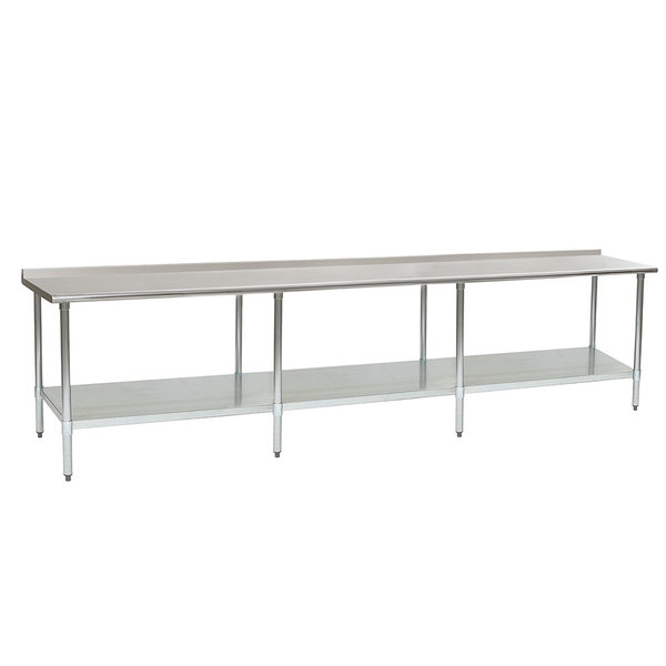 """Eagle Group UT36144E 36"""" x 144"""" Stainless Steel Work Table with Undershelf and 1 1/2"""" Backsplash"""