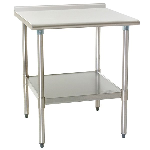 "Eagle Group UT2424SE 24"" x 24"" Stainless Steel Work Table with Undershelf and 1 1/2"" Backsplash"