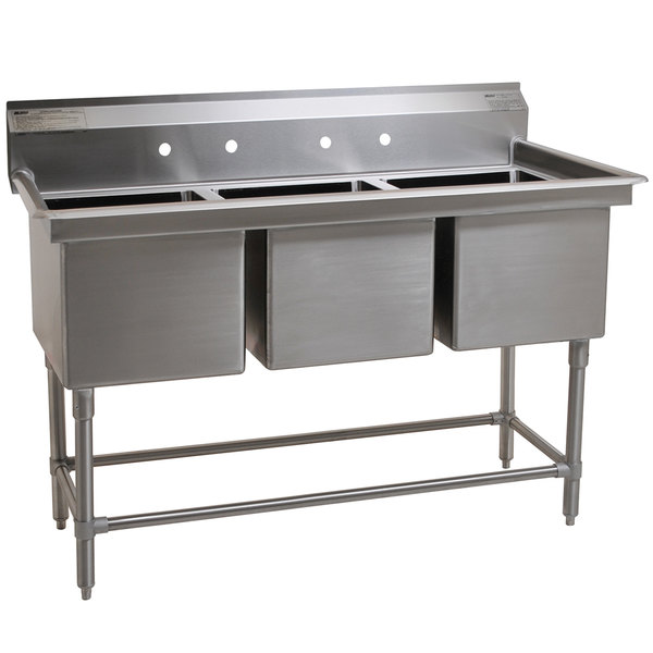 """Eagle Group FN2060-3-14/3 Three 20"""" x 20"""" Bowl Stainless Steel Spec-Master Commercial Compartment Sink Main Image 1"""