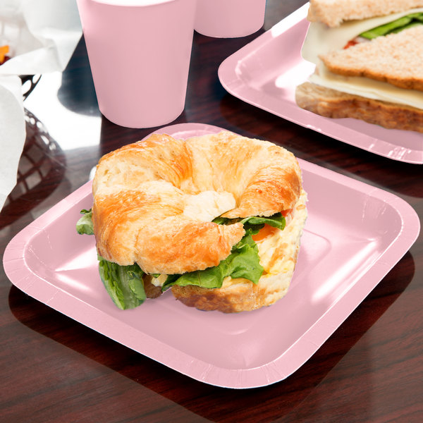 "Creative Converting 453274 7"" Classic Pink Square Paper Plate - 180/Case"
