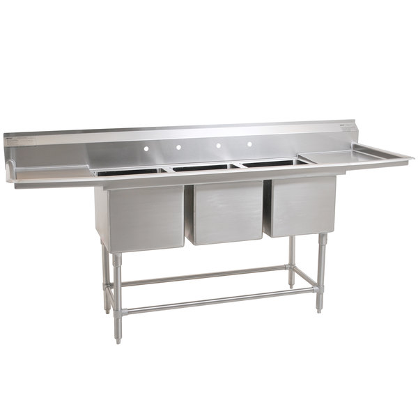 """Eagle Group FN2060-3-24-14/3 Three 20"""" x 20"""" Bowl Stainless Steel Spec-Master Commercial Compartment Sink with Two 24"""" Drainboards Main Image 1"""