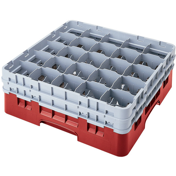 "Cambro 25S958163 Camrack Customizable 10 1/8"" High Customizable Red 25 Compartment Glass Rack"
