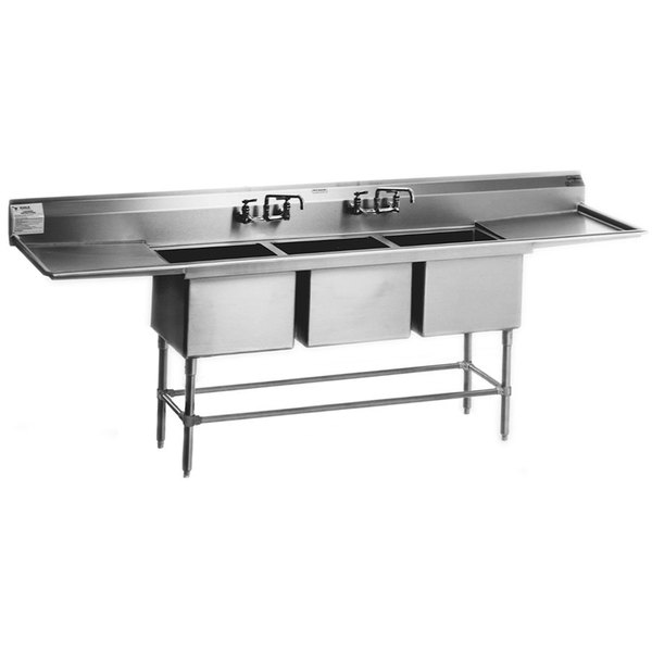 """Left Drainboard Eagle Group FN2048-3-18-14/3 Three 20"""" x 16"""" Bowl Stainless Steel Spec-Master Commercial Compartment Sink with 18"""" Drainboard"""