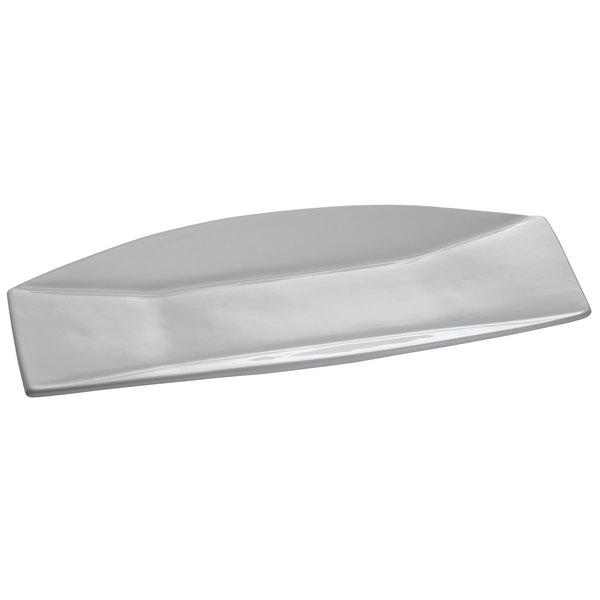 """Tablecraft CW18010GY Gray 23"""" x 8"""" Cast Aluminum Rectangular Prism Platter"""
