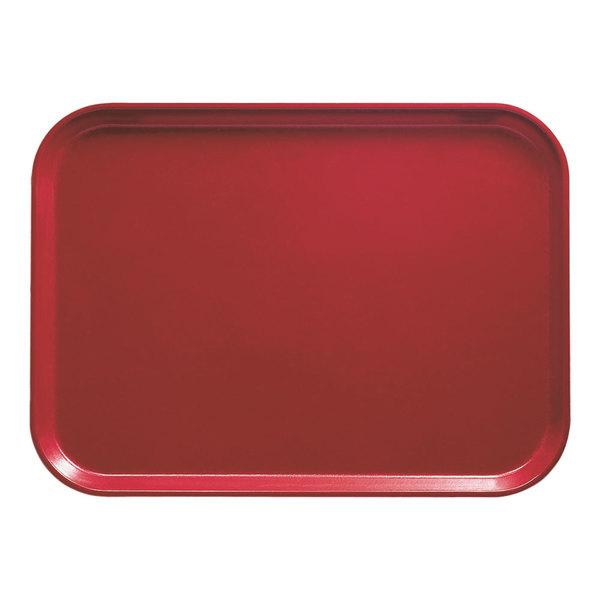 "Cambro 1622221 16"" x 22"" Rectangular Ever Red Customizable Fiberglass Camtray - 12/Case"