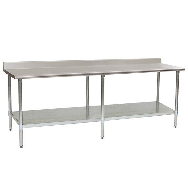 "Eagle Group UT3096SEB 30"" x 96"" Stainless Steel Work Table with Undershelf and 1 1/2"" Backsplash"
