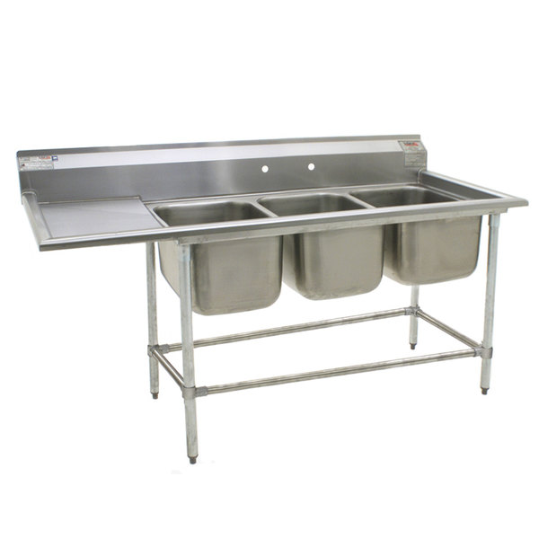 "Left Drainboard Eagle Group FN2060-3-24-14/3 Three 20"" x 20"" Bowl Stainless Steel Spec-Master Commercial Compartment Sink with 24"" Drainboard"