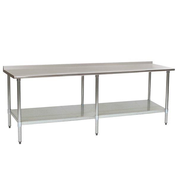 "Eagle Group UT2496SB 24"" x 96"" Stainless Steel Work Table with Undershelf and 1 1/2"" Backsplash Main Image 1"