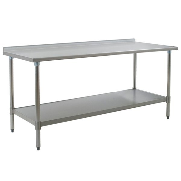 """Eagle Group UT3672E 36"""" x 72"""" Stainless Steel Work Table with Undershelf and 1 1/2"""" Backsplash"""