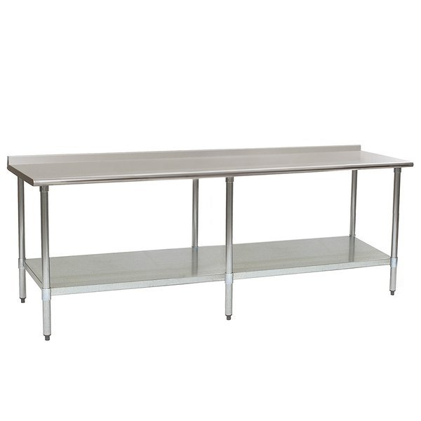 "Eagle Group UT30120E 30"" x 120"" Stainless Steel Work Table with Undershelf and 1 1/2"" Backsplash"
