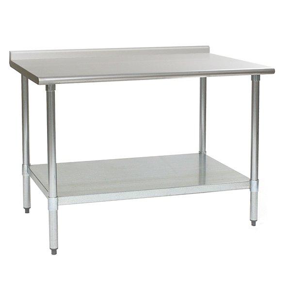 "Eagle Group UT3060E 30"" x 60"" Stainless Steel Work Table with Undershelf and 1 1/2"" Backsplash Main Image 1"