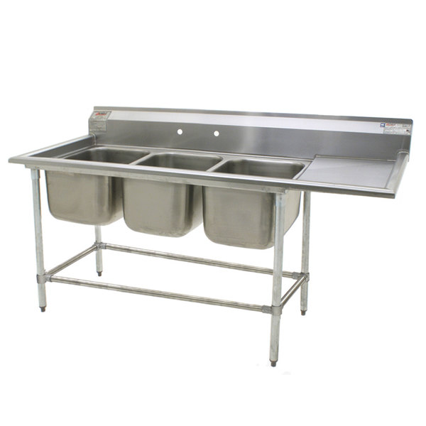"""Right Drainboard Eagle Group FN2472-3-24-14/3 Three 24"""" x 24"""" Bowl Stainless Steel Spec-Master Commercial Compartment Sink with 24"""" Drainboard"""