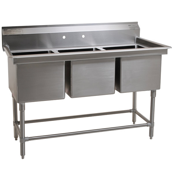 """Eagle Group FN2048-3-14/3 Three 20"""" x 16"""" Bowl Stainless Steel Spec-Master Commercial Compartment Sink Main Image 1"""