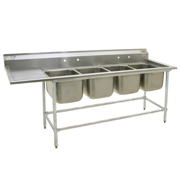 "Left Drainboard Eagle Group FN2080-4-24-14/3 Four 20"" x 20"" Bowl Stainless Steel Spec-Master Commercial Compartment Sink with 24"" Drainboard"