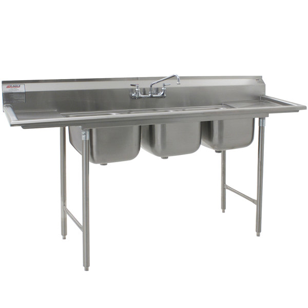 """Eagle Group 312-12-3-12 Three 20"""" x 12"""" Bowl Stainless Steel Commercial Compartment Sink with Two Drainboards"""