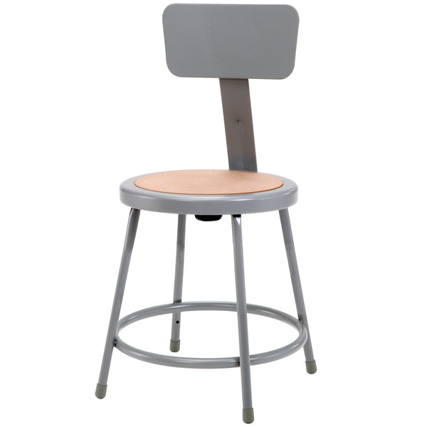"National Public Seating 6218B 18"" Gray Round Hardboard Lab Stool with Adjustable Backrest"