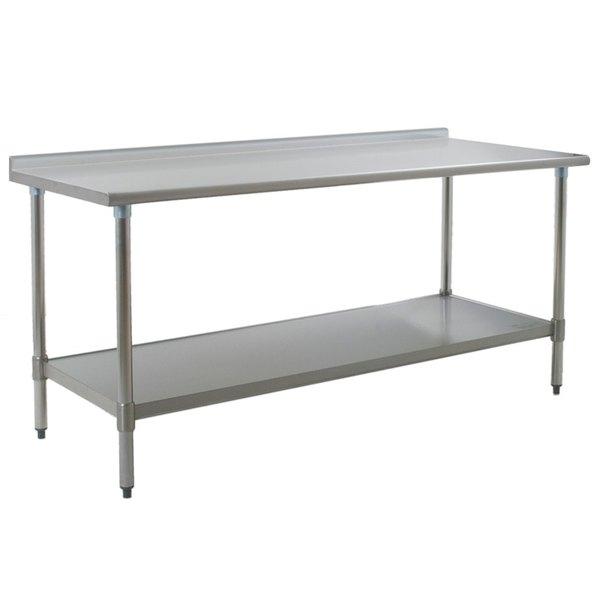"Eagle Group UT3072SEB 30"" x 72"" Stainless Steel Work Table with Undershelf and 1 1/2"" Backsplash Main Image 1"