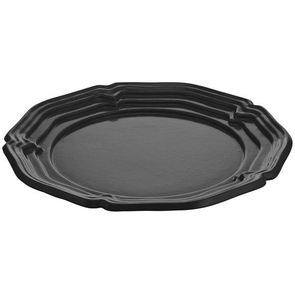 """Tablecraft CW6100BK Black 16"""" Cast Aluminum Queen Anne Round Platter"""