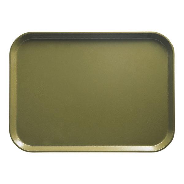 "Cambro 1622428 16"" x 22"" Rectangular Olive Green Customizable Fiberglass Camtray - 12/Case"